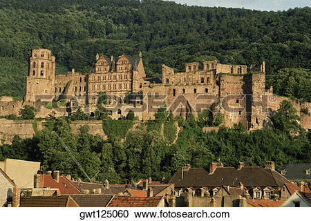 Stock Photography of Castle on a hill, Heidelberg, Germany.