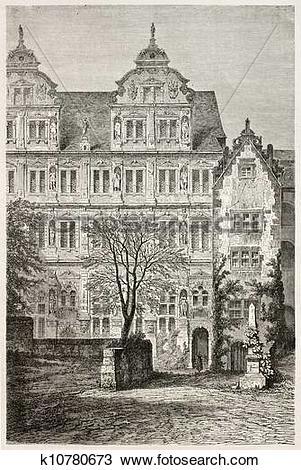 Drawing of Heidelberg castle bis k10780673.