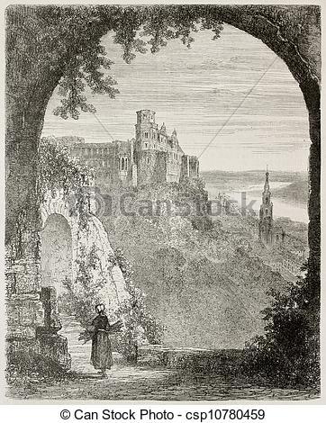 Stock Illustrations of Heidelberg castle quinquies.