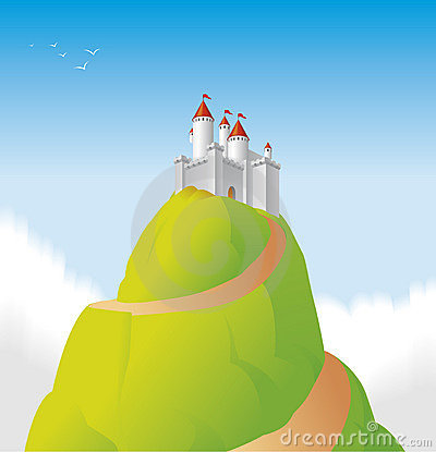 Castle Hill Vector Illustration Stock Illustration.