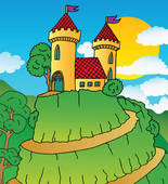Clip Art of Castle on hill k9576557.