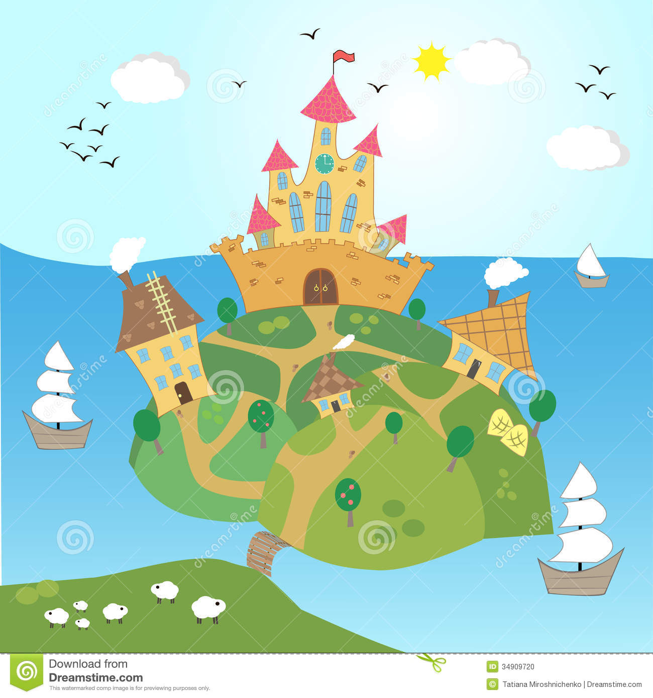 Vector Illustration Of The Castle On A Hill Stock Photo.