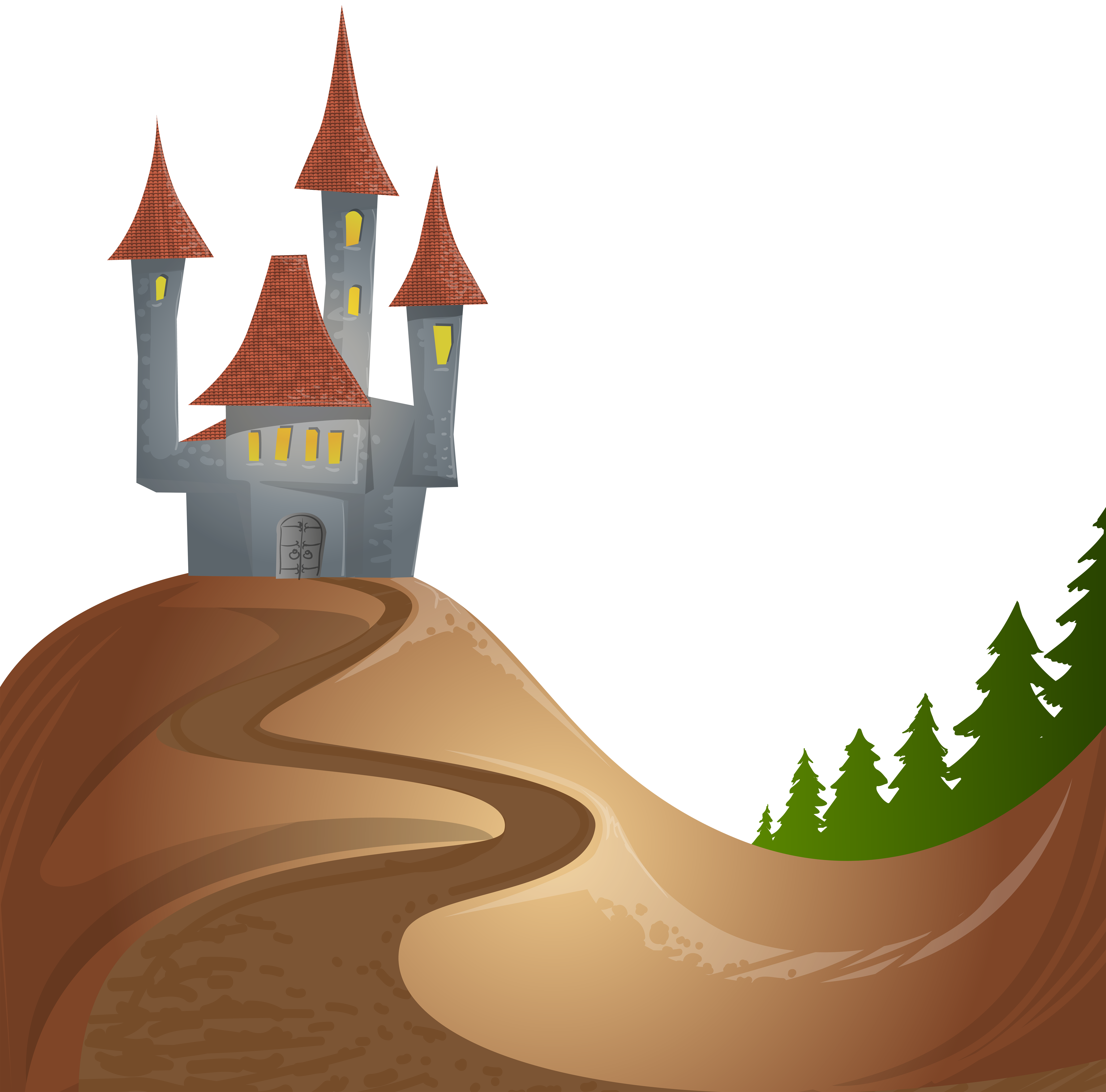 Castle on Hill Free PNG Clip Art Image.