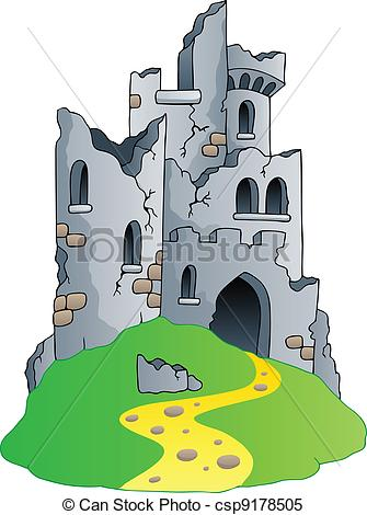 Clipart Vector of Castle ruins on hill.