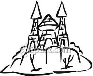 Black_and_White_Castle_On_A_Hill_Royalty_Free_Clipart_Picture_090215.