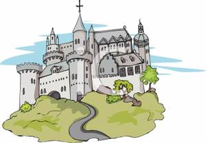 Castle on a hill clip art.