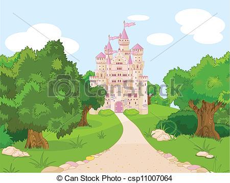 Clip Art Vector of Castle on hill.
