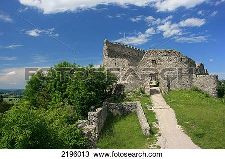 Stock Photo of Path leading to old ruins of castle, Bavaria.
