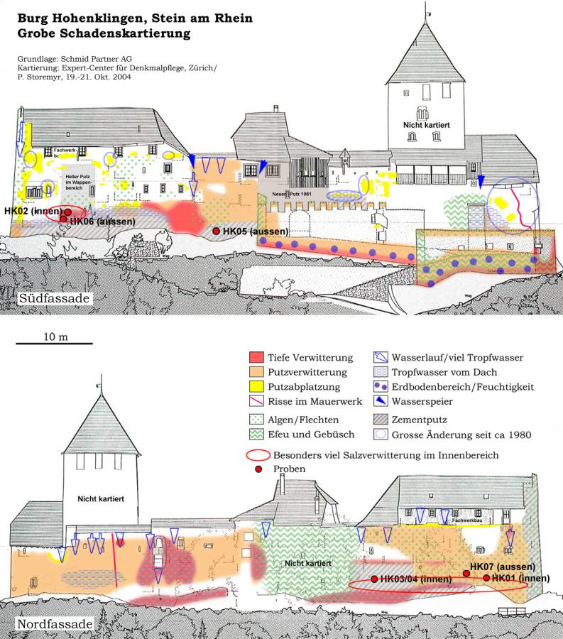 Hohenklingen castle, Stein am Rhein (CH), damage overview.