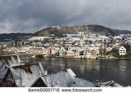 "Stock Images of ""View over the Rhine River towards the historic."