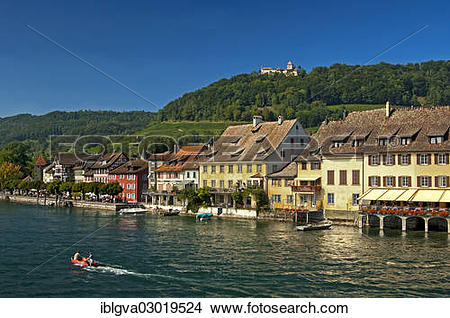 """Stock Photo of """"View over the Rhine to the village of Stein am."""