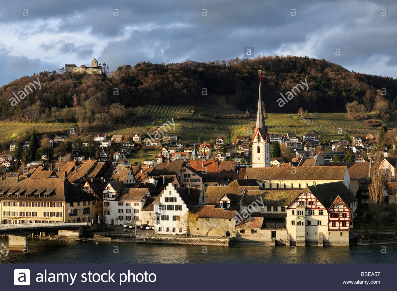 The Historic City Of Stein Am Rhein With The Castle Hohenklingen.