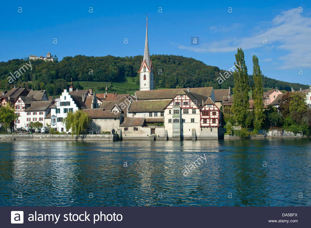 Switzerland, Europe, Schaffhausen, Stein Am Rhein, Rhine, River.