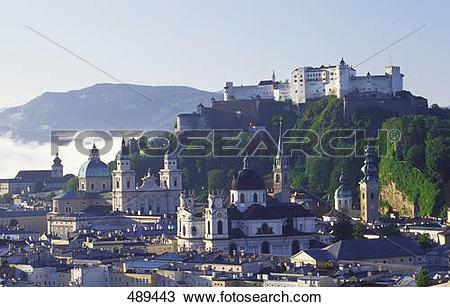 Stock Photo of Castle on hill, Hohensalzburg Fortress, Salzburg.