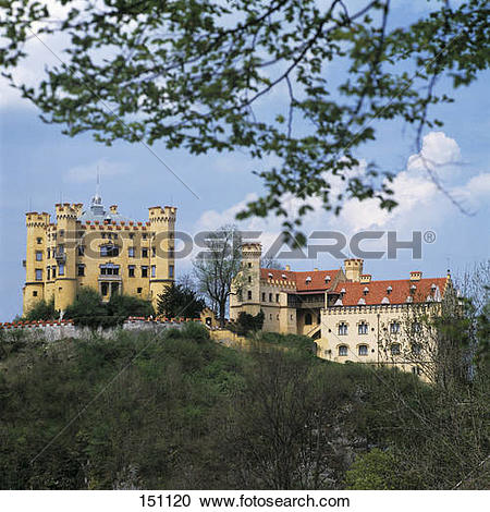Stock Photography of Castle on hill, Hohenschwangau Castle.