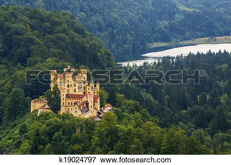 Picture of Hohenschwangau castle in the Bavarian Alps.