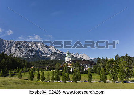 Stock Images of Schloss Elmau Castle Hotel, Wetterstein mountains.