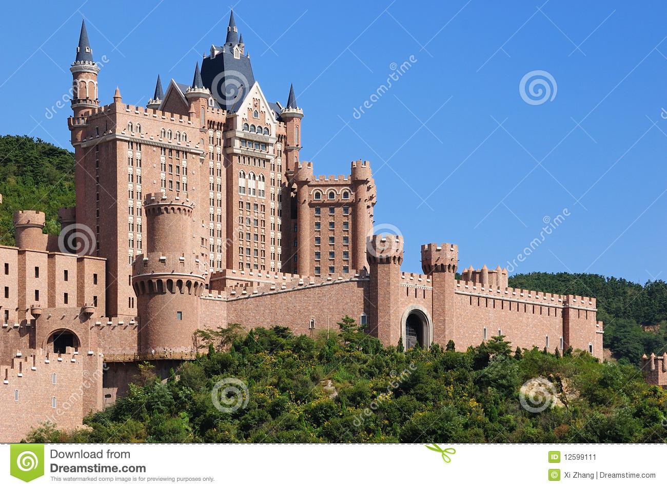 Castle Hotel Dalian City Stock Image.