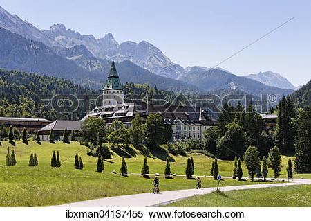 Stock Image of Schloss Elmau castle hotel, Wetterstein Range, Krun.