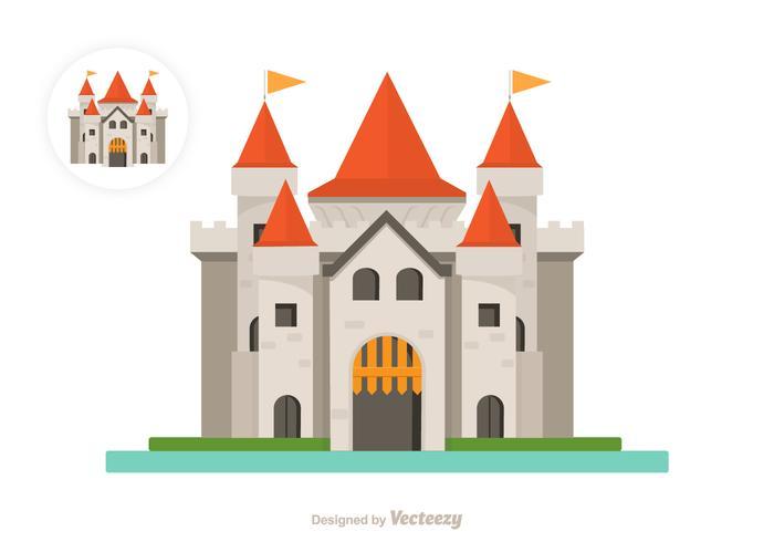 Flat Castle Vector Icon.