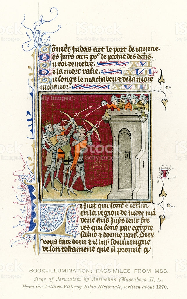 Medieval Illumination Siege Of Jerusalem stock vector art.