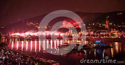 Heidelberg Castle Illumination Royalty Free Stock Images.