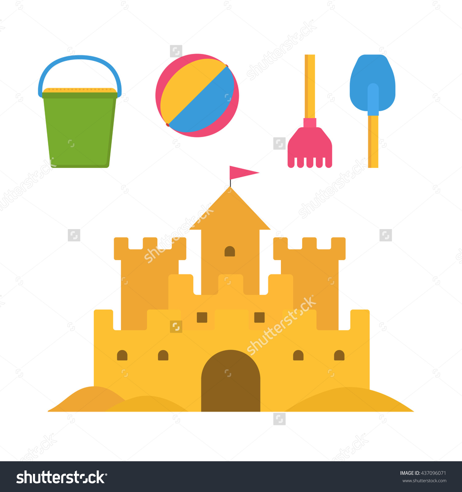 Beach Toys Sand Castle Vector Illustration Stock Vector 437096071.