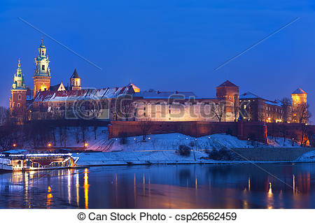 Stock Images of Wawel castle in night illumination in the winter.