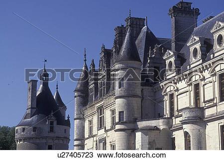 Stock Photo of Loire Valley, castle, France, Chenonceau, Loire.