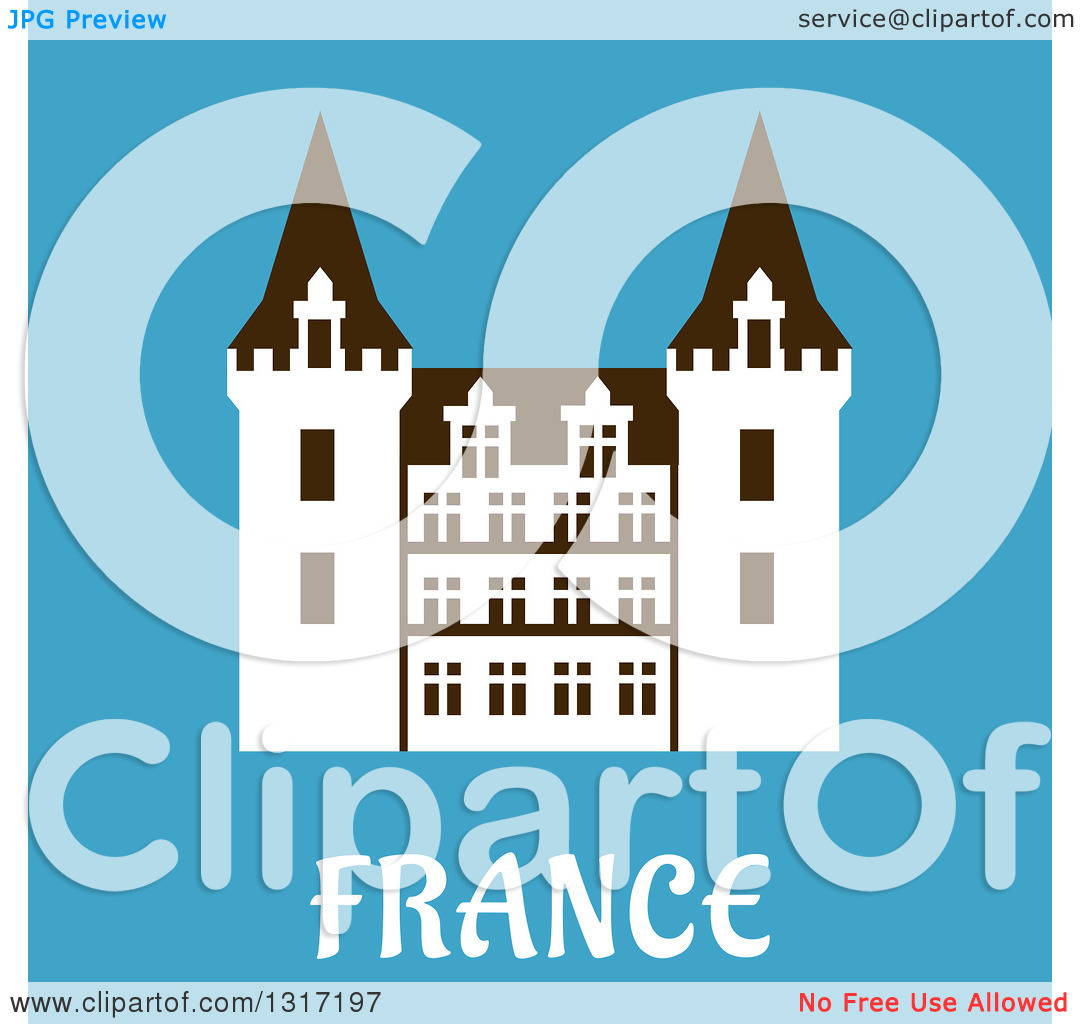 Clipart of a Flat Design Renaissance Castle in France with Text on.