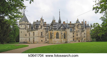 Stock Photo of Large vista of a french castle, Meilland castle.