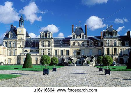 Stock Photo of Fontainebleau, chateau, castle, Ile de France.
