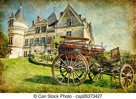 Clip Art of Medieval Castle Of Old France..