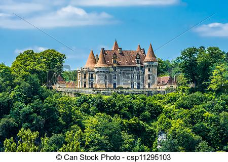 Stock Photography of chateau de Marzac perigord tursac france.