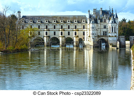 Pictures of Chateau Chenonceau or Ladies Castle (France)..
