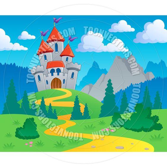 landscape with castle clip art.