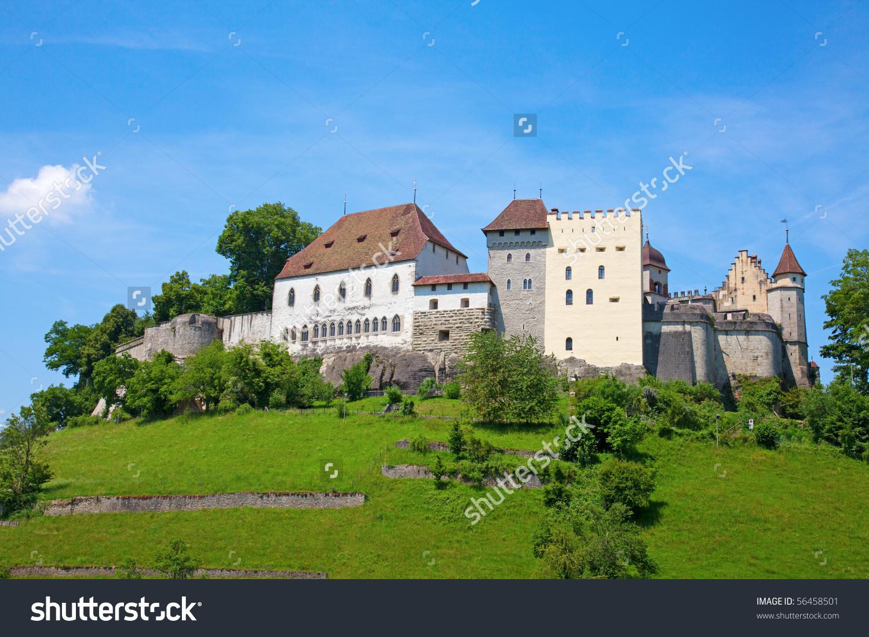 Lenzburg Castle Near Zurich, Switzerland Stock Photo 56458501.