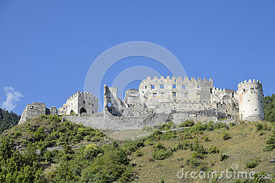 Castle Ruins On The Hill In Italy Stock Photos.