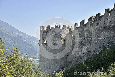 Ruins Of Castle Lichtenberg, South Tirol, Italy Stock Photo.