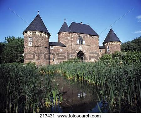 Stock Photography of Marshland in front of castle, Germany 217431.