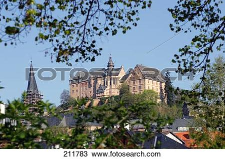 Stock Photo of Castle in city, Landgrave Castle, Marburg, Hesse.