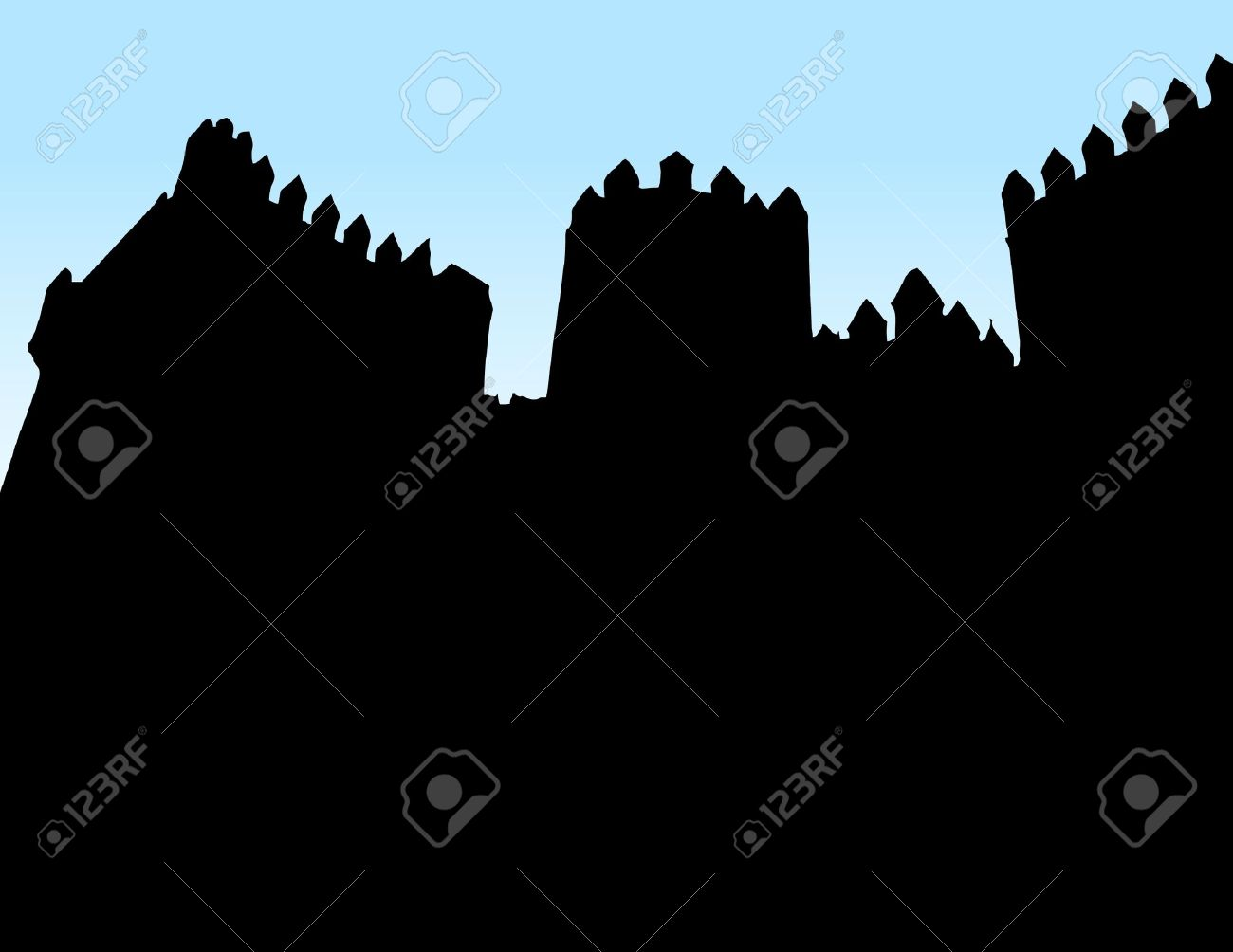 Castle wall silhouette clipart.