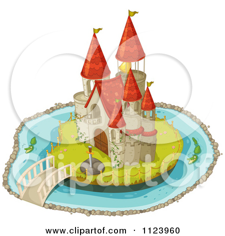 Clipart of a Boy King on a Castle Island.