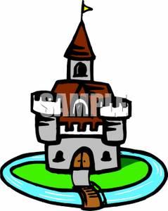 Clip art castle with moat.