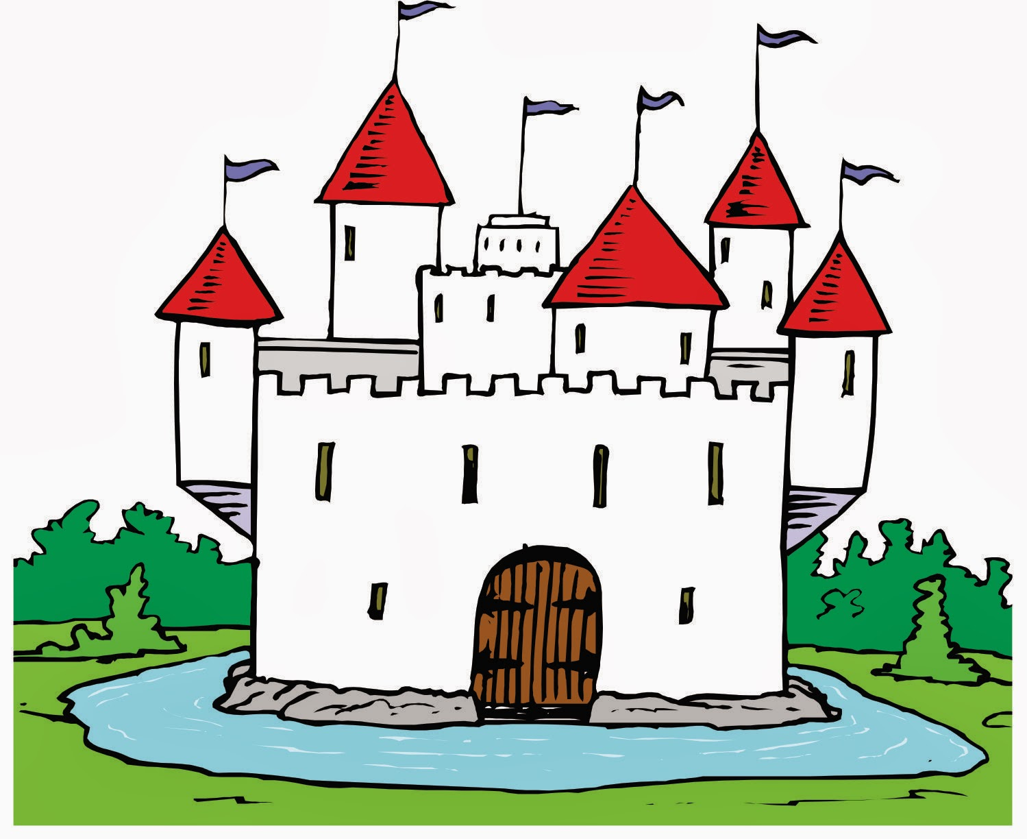 Castle with moat clipart.