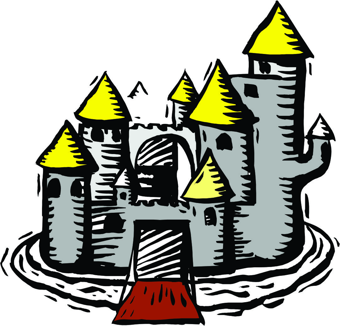 Clip art castle with moat.