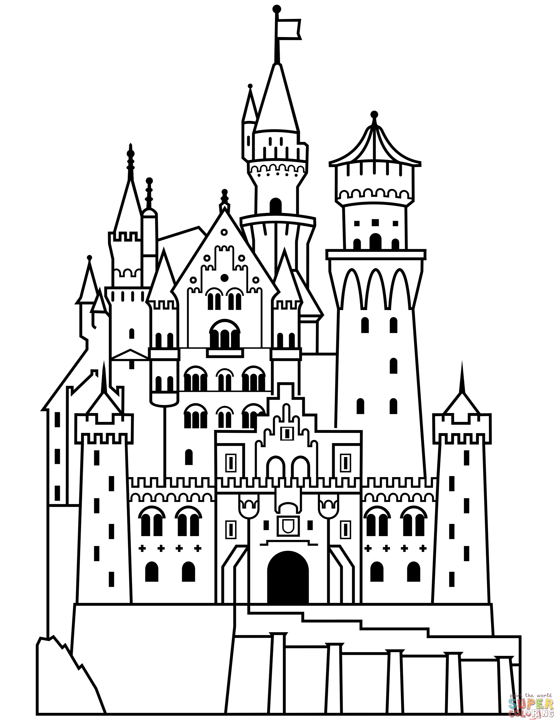 Neuschwanstein Castle coloring page.
