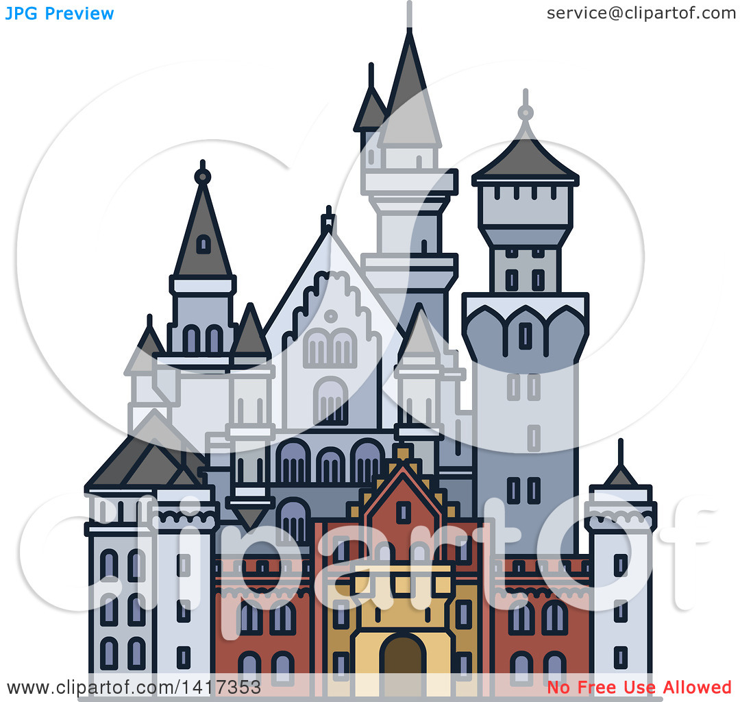 Clipart of a German Landmark, Neuschwanstein Castle.