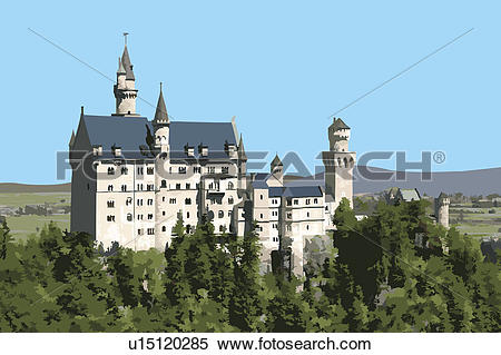 Neuschwanstein castle clipart #9