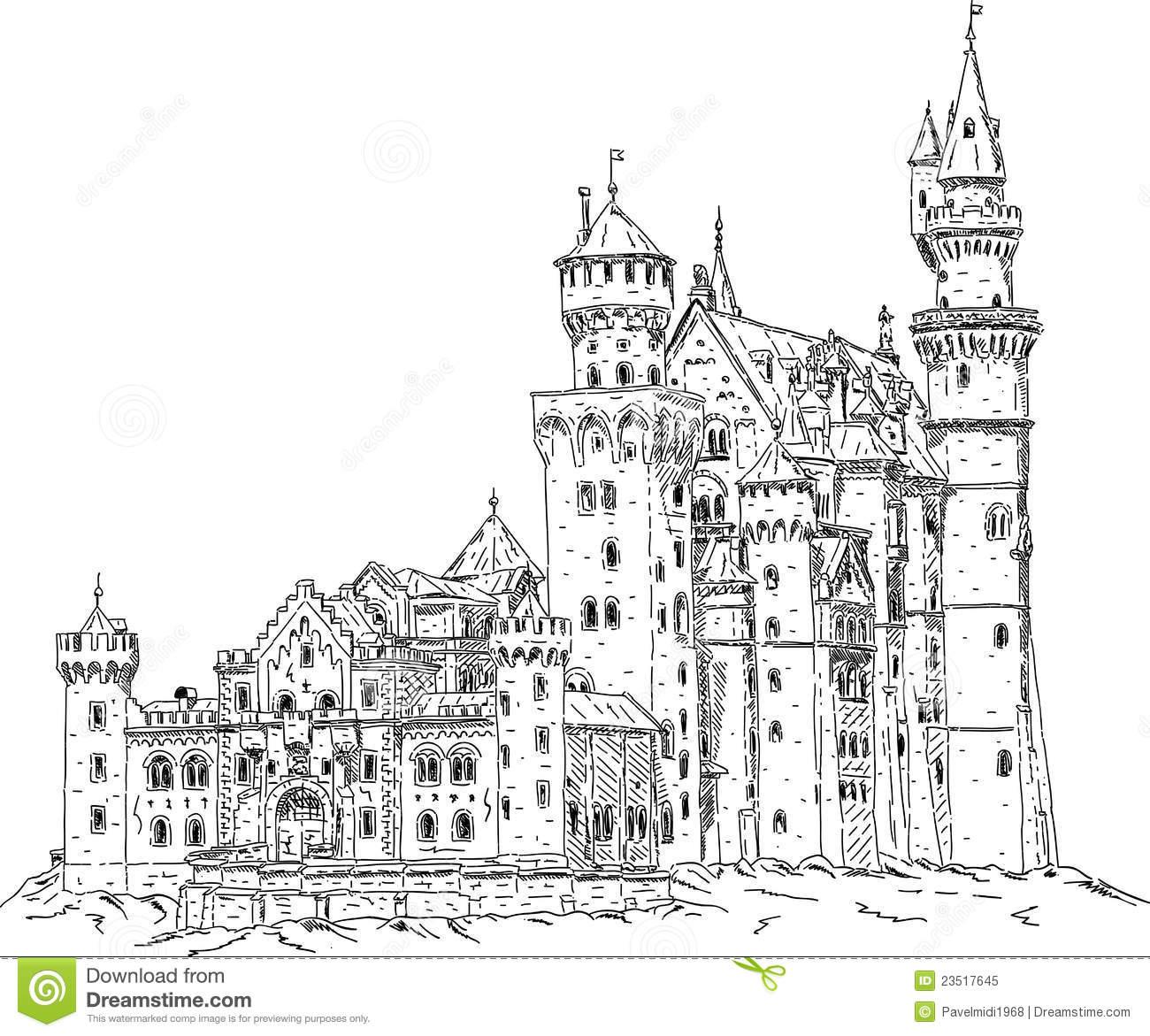 Neuschwanstein castle clipart.